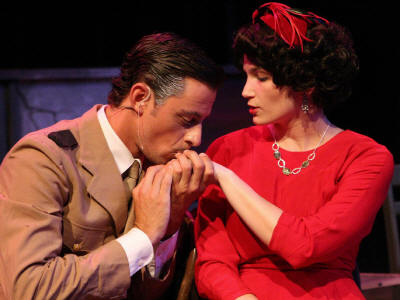 Todd Schaefer and Taylor Pietz as Juan and Eva Peron, in New Line Theatre's EVITA